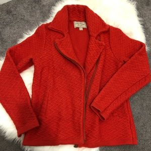 Lucky Brand moto style zip up sweater. Medium